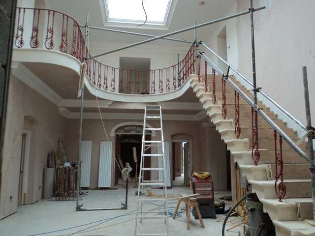 Cast iron balustrade - part way through the installation