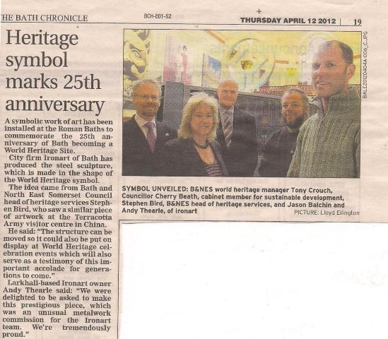 The Ironart team in the Bath Chronicle, April 2012
