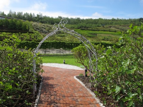 Ironart's flower arch at the Eden Project, Cornwall