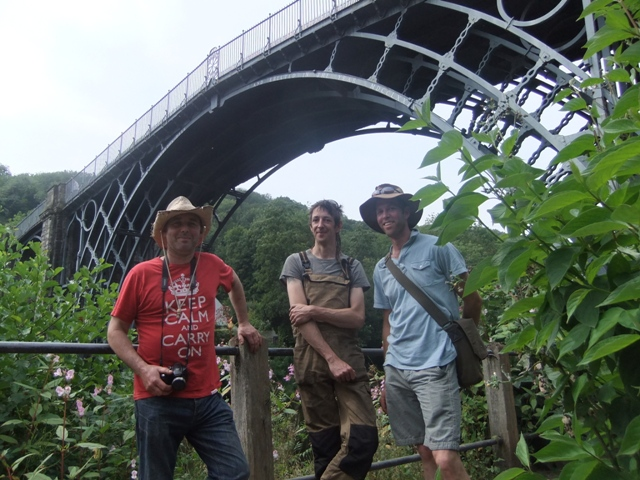 Andy, Martin and Jim underneath Abraham Darby III Ironbridge