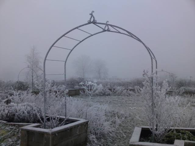 Ironart's Faulkland Rose Arch in Winter